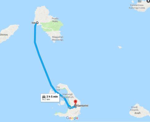 Santorini Ios mappa del tragitto in barca