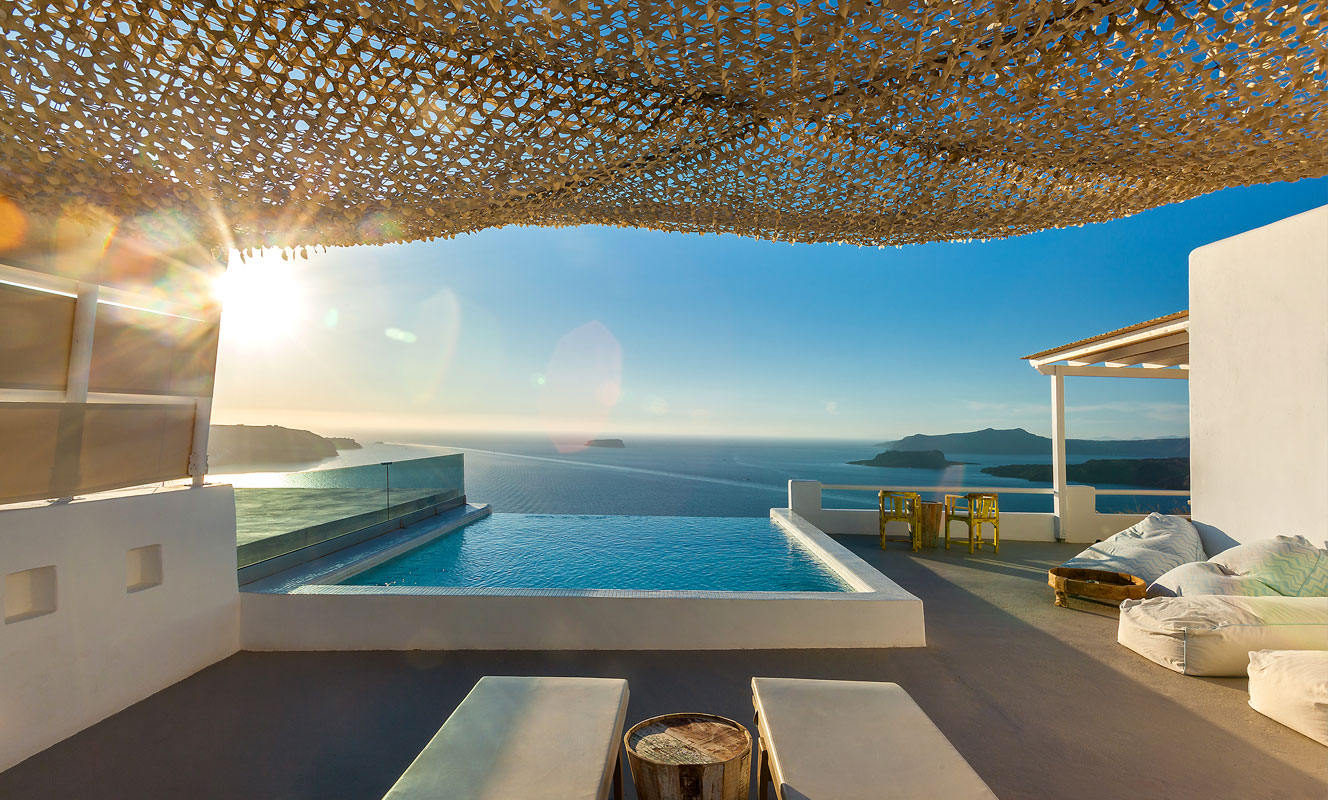 infinity pool grand view hotel santorini