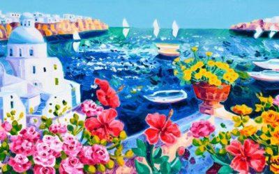 Santorini nell'arte: l'isola dell'amore secondo Faccincani